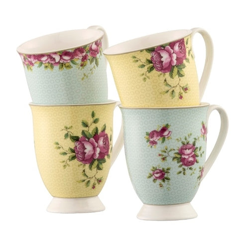 Aynsley Archive Rose Footed Mugs, Set Of 4