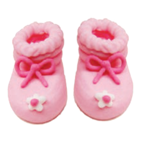 Sugarcraft Baby Booties, Pack of 6, Pink