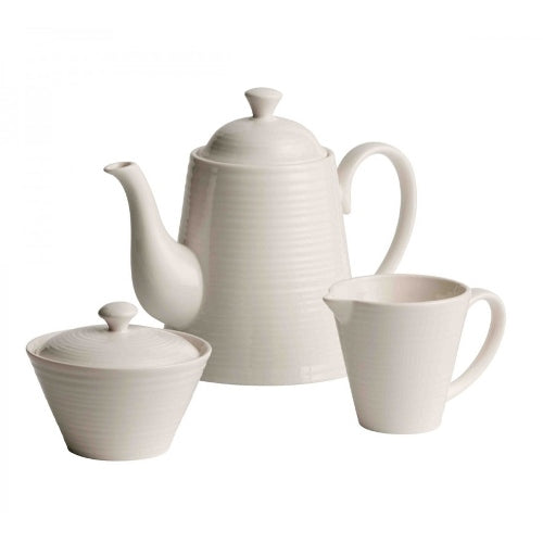 Belleek Living Ripple Beverage Pot, Sugar & Cream Set