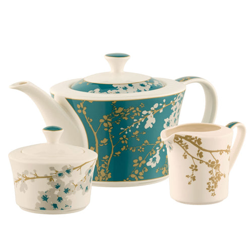 Belleek Living Bellevue Teapot, Sugar & Cream Set