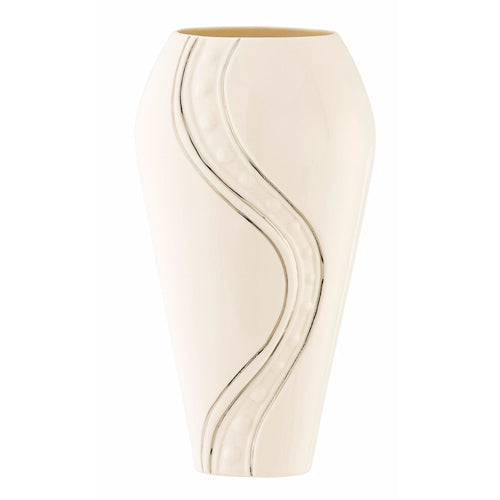 Belleek Silver Ripple Vase, 12""