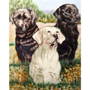 "Benaya Art Ceramic Tiles 'Labrador Portrait', 11"" x 14"""