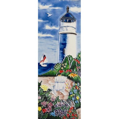"Benaya Art Ceramic Tiles 'View From The Lighthouse', 6"" x 16"""