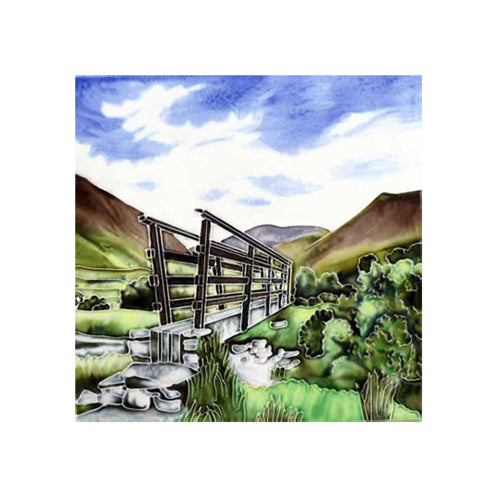 "Benaya Art Ceramic Tiles 'Wood Bridge', 8"" x 8"""