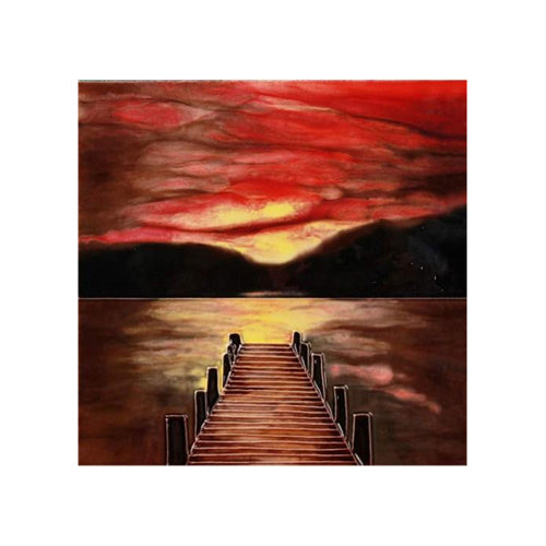 "Benaya Art Ceramic Tiles 'Sunset Dock', 8"" x 8"""