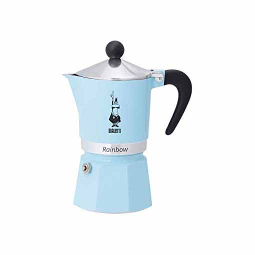 Bialetti Rainbow Espresso/Coffee Maker, 3 Cup, Light Blue