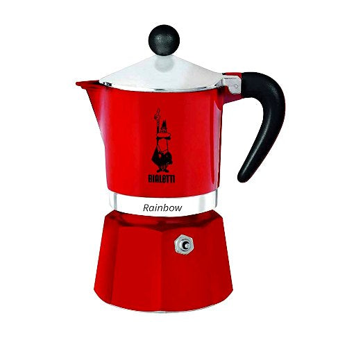 Bialetti Rainbow Espresso Coffee Maker, 6 Cup, Red