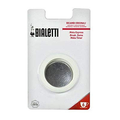Bialetti Replacement Filter Gasket & Rubber Rings, 6 Cup