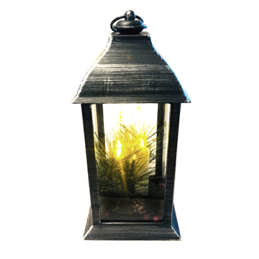 Christmas Themed Battery Operated LED Lantern, Black
