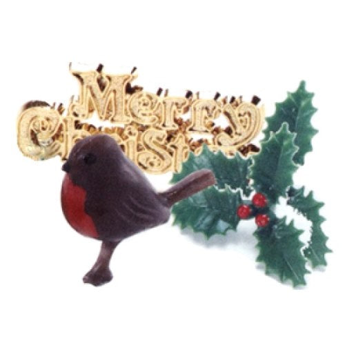 Christmas Cake Topper Set, Robin/Holly