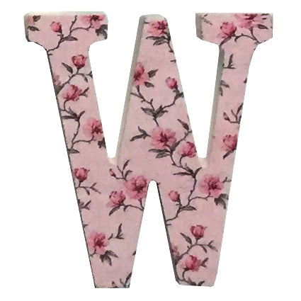 Pink Wooden Chintz Letter, 'W'