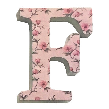 Pink Wooden Chintz Letter, 'F'