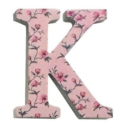 Pink Wooden Chintz Letter, 'K'
