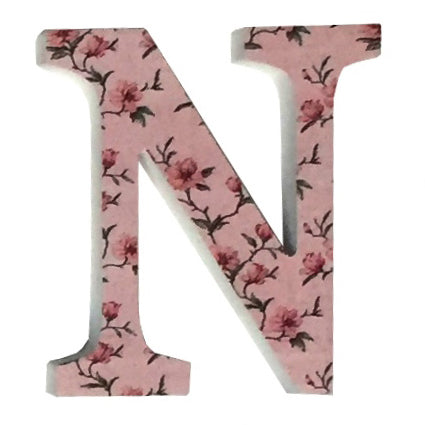 Pink Wooden Chintz Letter, 'N'