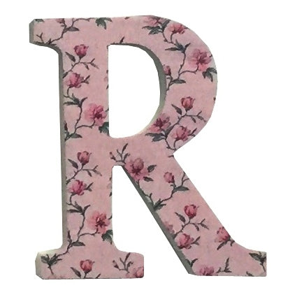 Pink Wooden Chintz Letter, 'R'