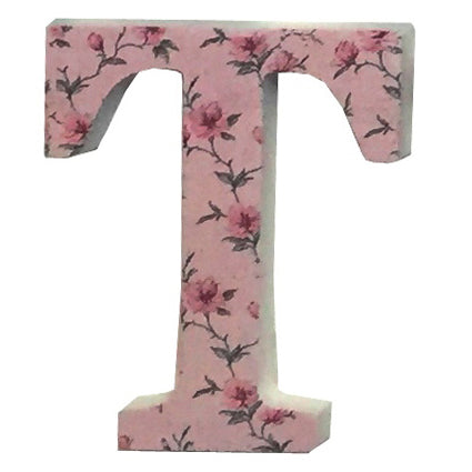 Pink Wooden Chintz Letter, 'T'