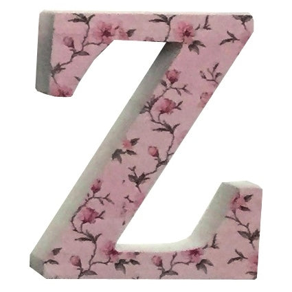 Pink Wooden Chintz Letter, 'Z'