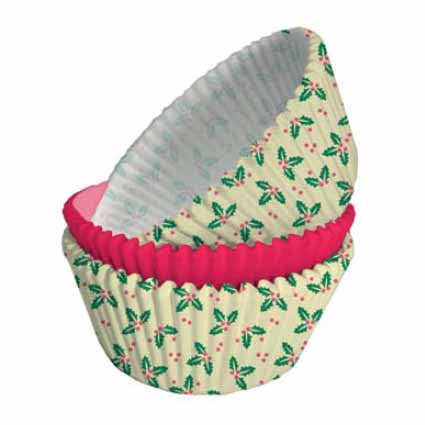 Christmas Holly Print Cupcake Cases, Pack Of 75