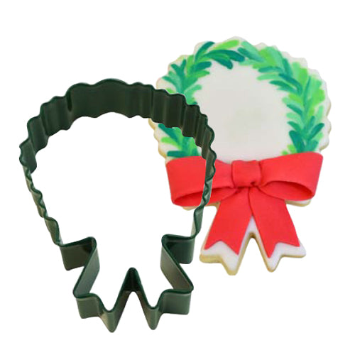Green Christmas Wreath Cookie Cutter, 10.2cm