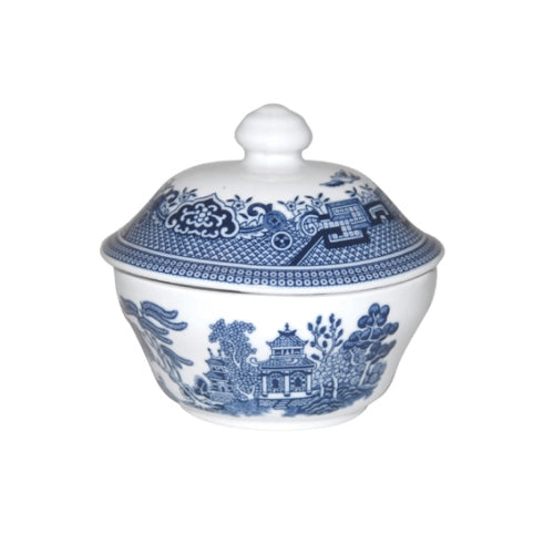 Churchill Blue Willow Pattern Covered Sugar Bowl, 160ml
