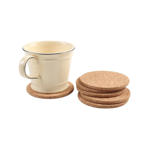 Round Cork Coasters, Set Of 6