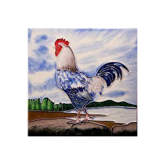 "Benaya Art Ceramic Tiles 'Cockerel 2' 8"" x 8"""