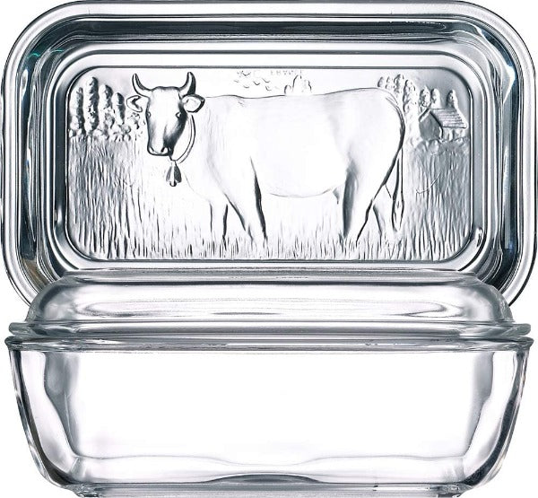 Oblong Glass Cow Butter Dish With Lid