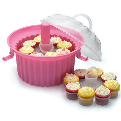 Pink Three Tier Cupcake Carrier, 24 Cup