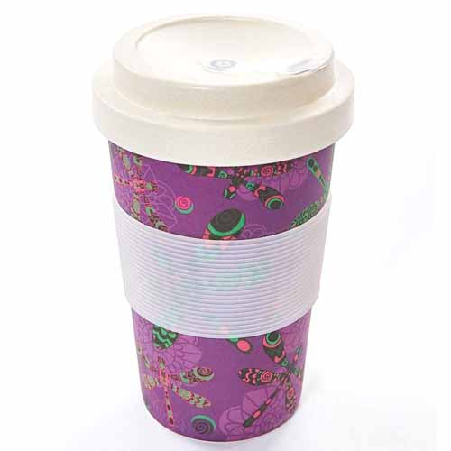 ECO CHIC BAMBOO REUSABLE COFFEE CUP, DRAGONFLIES