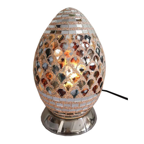 Moroccan Mosaic Egg Shaped Lamp, 27cm