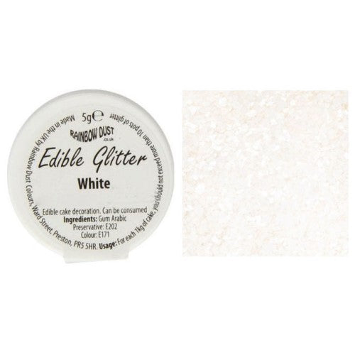 Rainbow Dust Edible Glitter, 5g, White