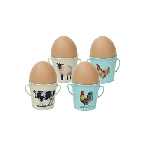 Egg Cup Buckets, Set Of 4, Farm Animal