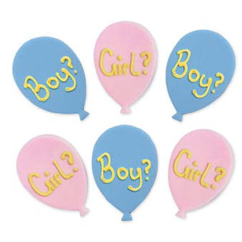 Gender Reveal Sugarcraft Cake Toppers, 6 Piece