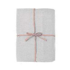 Walton & Co Mini Gingham Tablecloth, 130cm x 230cm, Dove Grey