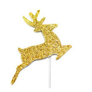 Christmas Gold Glitter Reindeer Cake Decoration, Pack Of 12