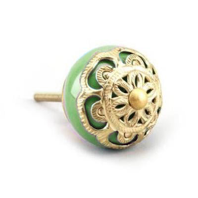 Drawer Knob With Brass Filigree, Green, 3.5cm