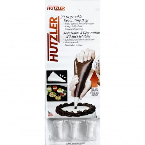 Hutzler Disposable Decorating Bags with Nozzles, 20 Bags