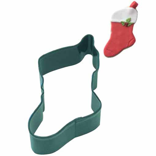 Green Christmas Stocking Cookie Cutter, 4.5""