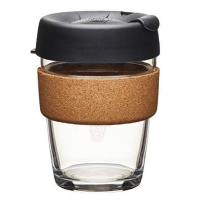 KeepCup Brew Cork Reusable Glass Cup, 12oz/340ml, Black