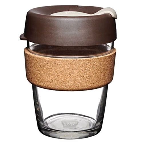 KeepCup Brew Cork Reusable Glass Cup, 12oz/340ml, Brown