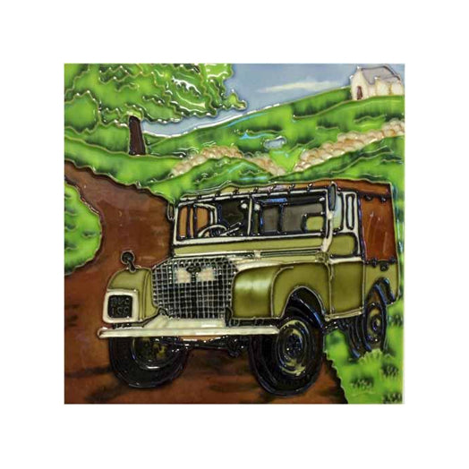 "Benaya Art Ceramic Tiles 'Land Rover', 8"" x 8"""