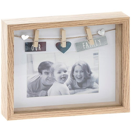 Sentiment Peg Photo Frame 'Family'