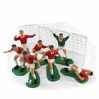 Football Cake Decorations, Set Of 9, Red