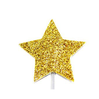 Christmas Gold Glitter Star Cake Decoration, Pack Of 12