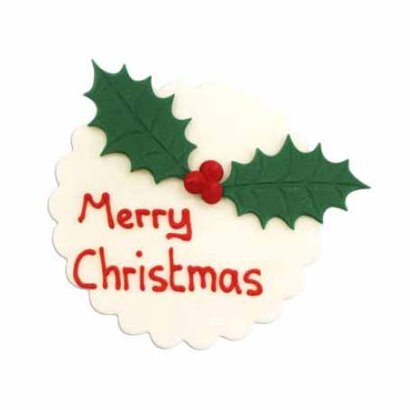 Merry Christmas Holly Plaque Cake Toppers, 8cm