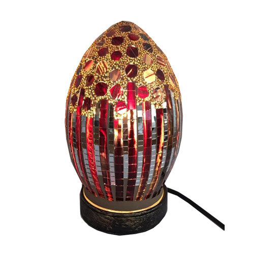 Mosaic Red Jewelled Egg Shaped Lamp, 21cm