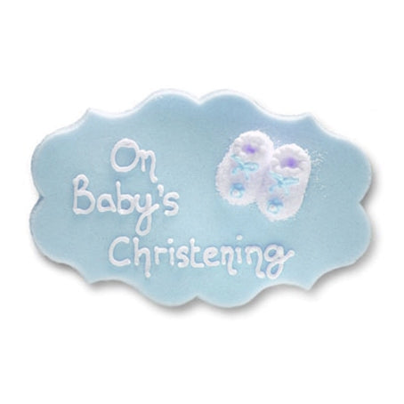 'On Baby's Christening' Sugarcraft Plaque, Blue
