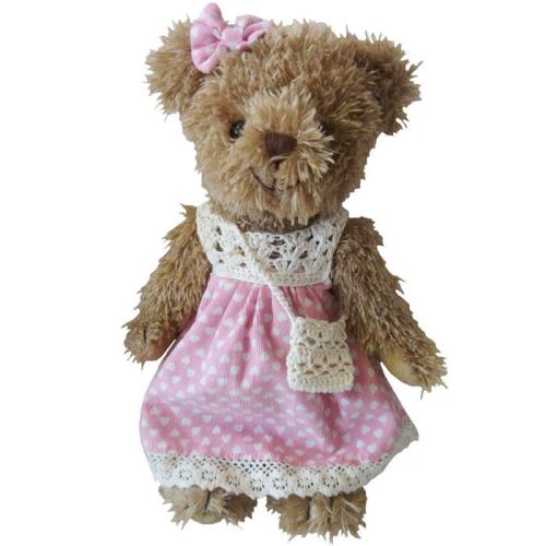 Teddy Bear With Pink Polka Dress & Handbag
