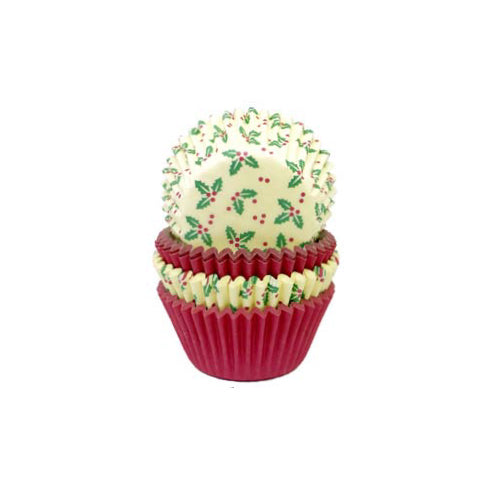 Christmas Holly Petit Four Cases, Pack Of 100