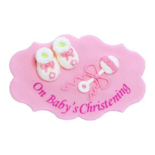 'On Baby's Christening' Sugarcraft Plaque, Pink